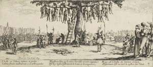 """""""Die Schrecken des Krieges"""" nannte Jacques Callot 1632 diesen Stich. Solchen Szenen konnte man damals überall in Deutschland begegnen."""
